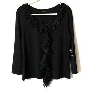 Teny Limited Black Long Sleeve Blouse- Large- NWT